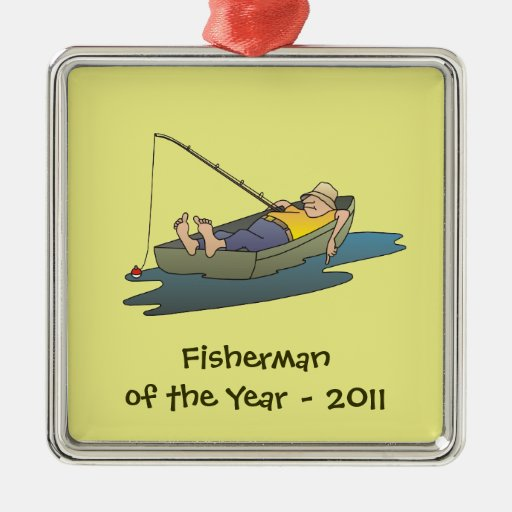 Fisherman of the Year award - lazy boat day Square Metal Christmas Ornament