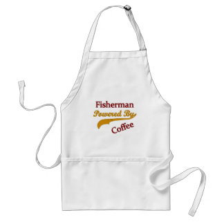 Fisherman Powered By Coffee Adult Apron