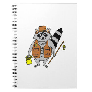Fisherman Raccoon Spiral Notebook