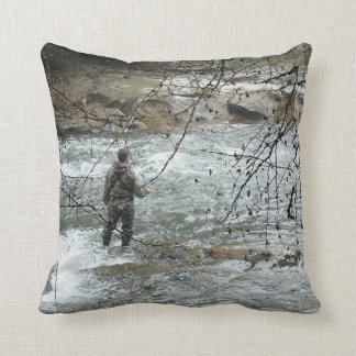Fisherman River Steelhead Trout Fly Fishing Rapids Throw Pillow