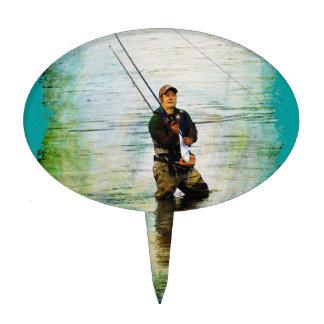 Fisherman & Rod Fishing Outdoors Design Cake Topper