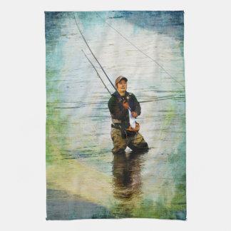 Fisherman & Rod Fishing Outdoors Design Hand Towels