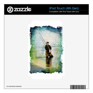 Fisherman & Rod Fishing Outdoors Design iPod Touch 4G Decals