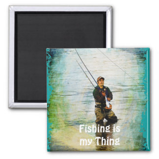 Fisherman & Rod Fishing Outdoors Design Refrigerator Magnets