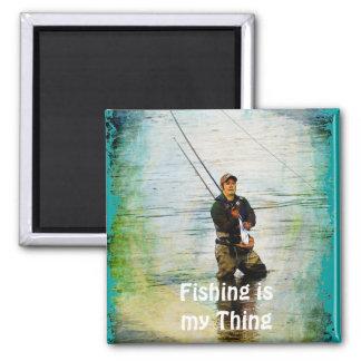 Fisherman & Rod Fishing Outdoors Design Magnet