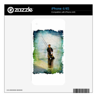 Fisherman & Rod Fishing Outdoors Design Skin For The iPhone 4S