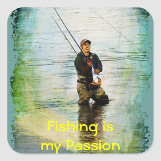 Fisherman & Rod Fishing Outdoors Design Square Sticker