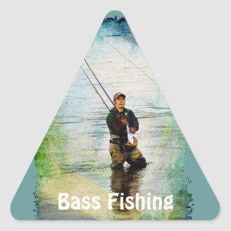 Fisherman & Rod Fishing Outdoors Design Triangle Stickers