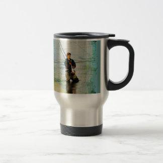 Fisherman & Rod Fishing Outdoors Design Travel Mug