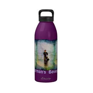 Fisherman & Rod Fishing Outdoors Design Water Bottle