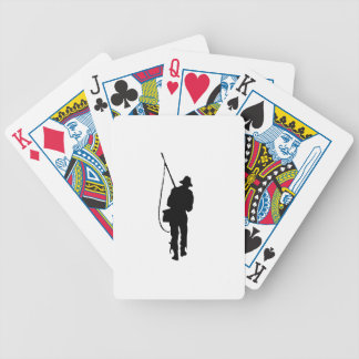 Fisherman Silhouette Bicycle Playing Cards