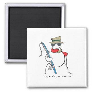 fisherman snowman 2 inch square magnet
