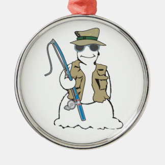 Fisherman snowman with vest metal ornament