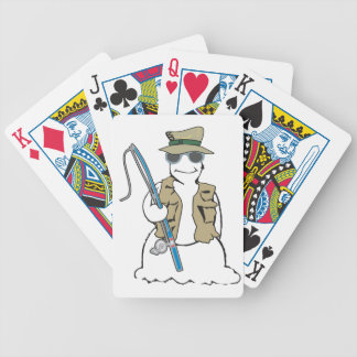 Fisherman snowman with vest deck of cards