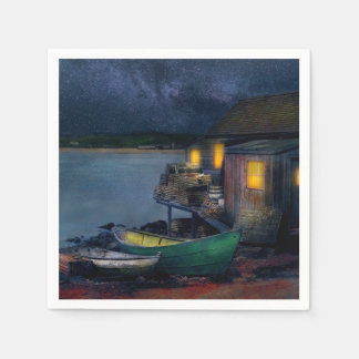 Fisherman - The Fisherman's Cabin 1915 Paper Napkin