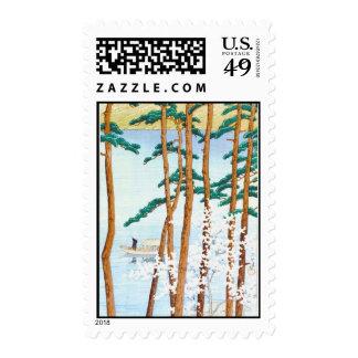 Fisherman Through Trees Japanese Woodblock Art Postage Stamps
