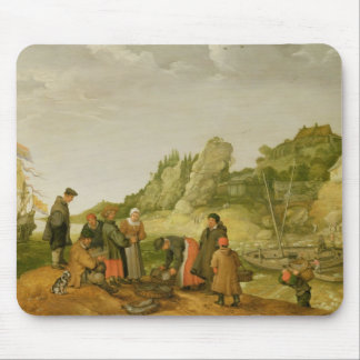 Fisherman unloading and selling their catch mouse pad