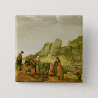 Fisherman unloading and selling their catch pinback button