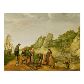 Fisherman unloading and selling their catch postcard