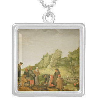 Fisherman unloading and selling their catch silver plated necklace