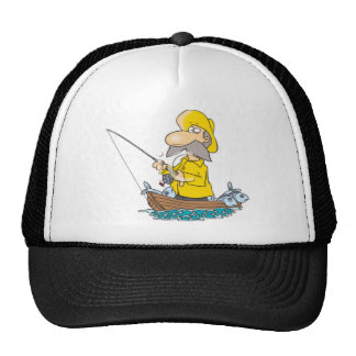 Fisherman wearing yellos trucker hat