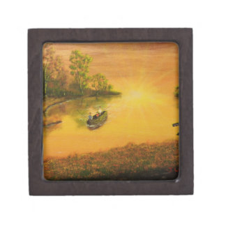 """""""Fisherman's Alley"""" by Jack Lepper Jewelry Box"""