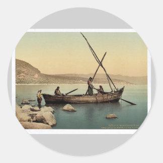 Fisherman's boat on the lake, Tiberias, Holy Land, Classic Round Sticker