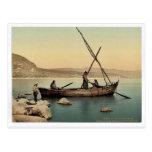 Fisherman's boat on the lake, Tiberias, Holy Land, Postcard