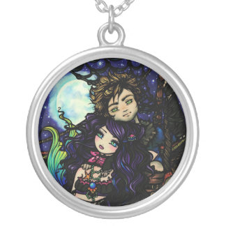 """""""Fisherman's Catch"""" Mermaid Pirate Fantasy Art Silver Plated Necklace"""