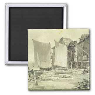 Fisherman's Cottage, Dover, 1790s (pencil & grey w 2 Inch Square Magnet