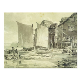 Fisherman's Cottage, Dover, 1790s (pencil & grey w Postcard