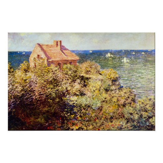 Fisherman's Cottage on a Cliff by Claude Monet Poster