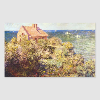 Fisherman's Cottage on a Cliff by Claude Monet Rectangular Sticker