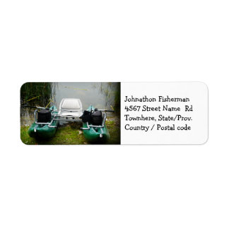 Fisherman's Floater Boat and Lake Return Address Label