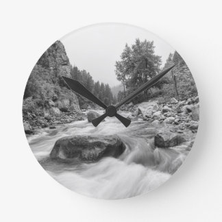 Fishermans Panorama Colorado Canyon View BW Round Clock