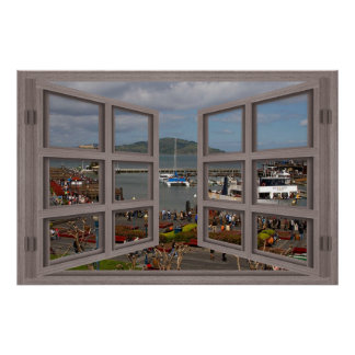 Fishermans Wharf 6 Pane Open Window Poster