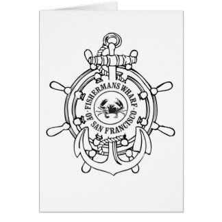 Fisherman's Wharf Wheel and Anchor Greeting Card