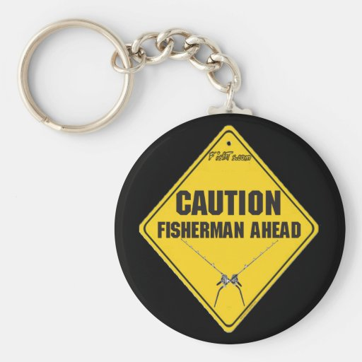 Fishermen Ahead Big Game Rods Keychain