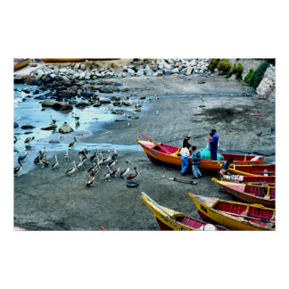 Fishermen and pelicans, Valparaiso, Chile Print