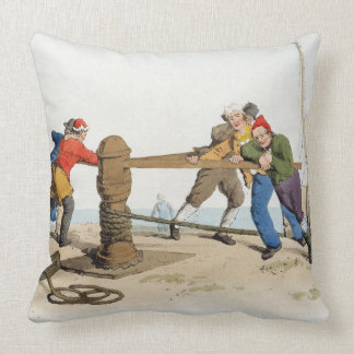 Fishermen at a Capstan, from 'Costume of Great Bri Throw Pillows