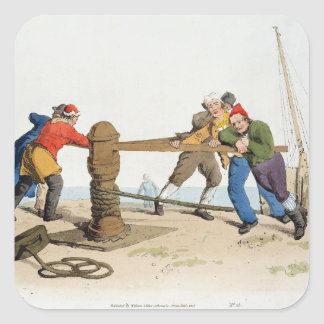 Fishermen at a Capstan, from 'Costume of Great Bri Square Sticker