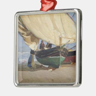 Fishermen Beached Boat, Valencia - Joaquín Sorolla Metal Ornament