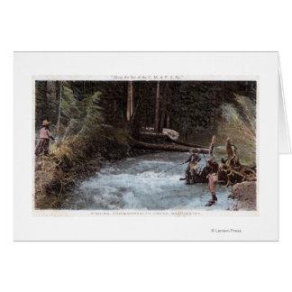Fishermen Fishing at Commonwealth Creek Card