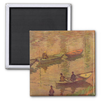 Fishermen fishing river Seine at Poissy by Monet 2 Inch Square Magnet