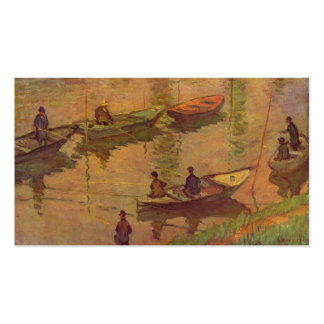 Fishermen fishing river Seine at Poissy by Monet Business Cards