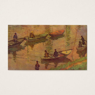 Fishermen fishing river Seine at Poissy by Monet Business Card