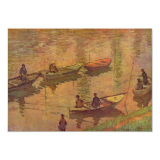 Fishermen fishing river Seine at Poissy by Monet Card