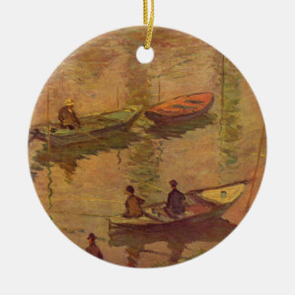 Fishermen fishing river Seine at Poissy by Monet Ceramic Ornament