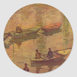 Fishermen fishing river Seine at Poissy by Monet Classic Round Sticker