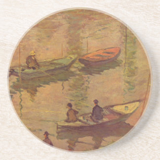 Fishermen fishing river Seine at Poissy by Monet Drink Coaster